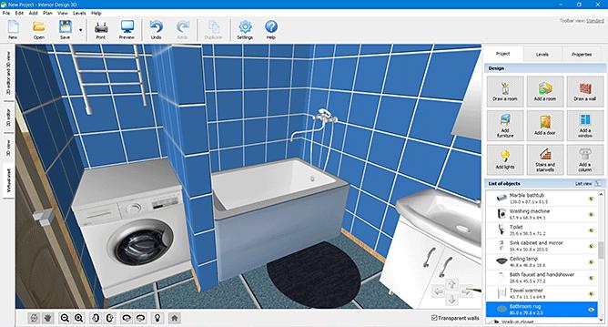 convenient 3d bathroom design software
