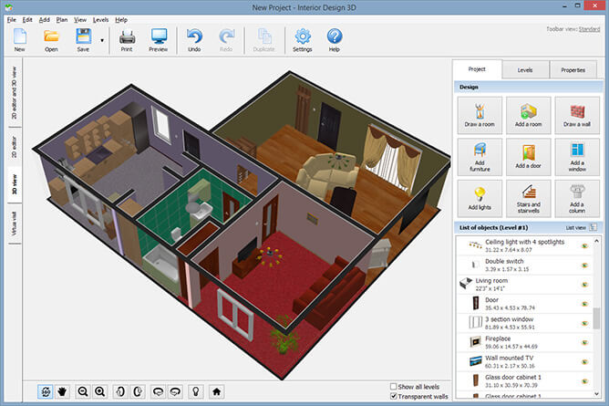 Interior Design Software Interface Screenshots